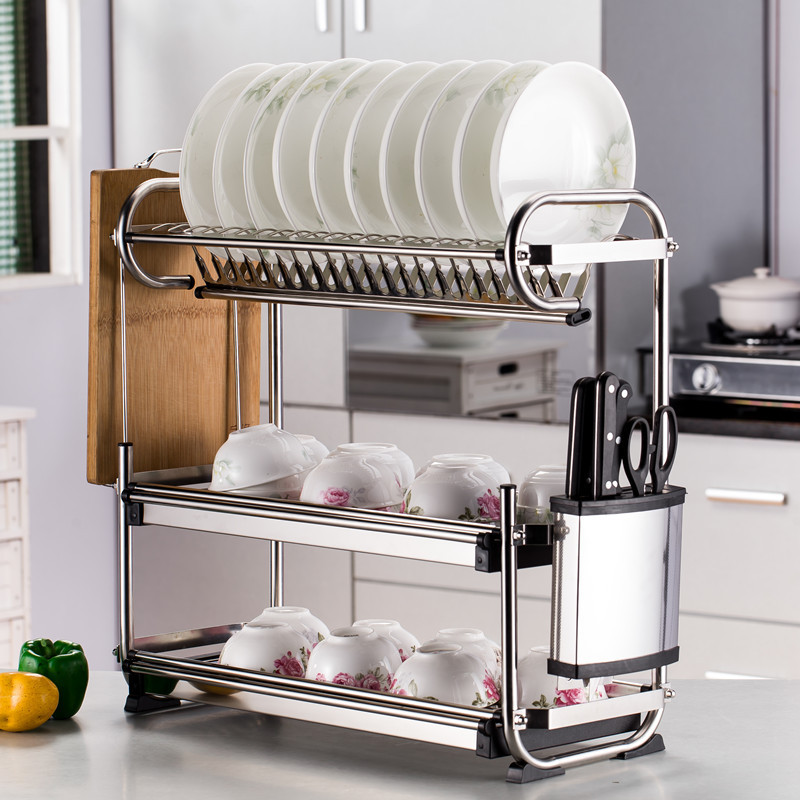 Kitchen stainless steel rack wall-mounted dish rack 3 layer kitchen storage rack tableware finishing rack kitchen storage tools