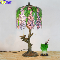 FUMAT Tiffany Stained Glass Table Lamps Bird Nest Tree Sunflower Cow Desk Lights Decorative LED Handcraft European Style Lamps