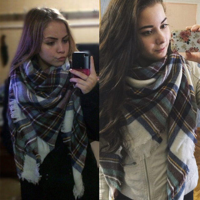 Women Winter cashmere and Shawl Blanket Scarf 4