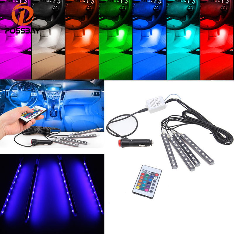 POSSBAY 4 in 1 Car Flexible Floor Neon Lights Door Lamp With Wireless Remote Control Atmosphere Lamp Car RGB LED Strip Light image