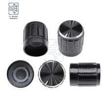 10PCS 6MM Knurled Shaft Aluminum Alloy Potentiometer Knob Rotary Switch Black 15mm Dia. x 16.5mm Height Inner Diameter 6MM