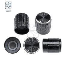 5PCS/Lot Dia. 6mm Knurled Shaft Insert Potentiometer Control Black Metal Knobs Switch Knob 15mm Dia. x 16.5mm Height