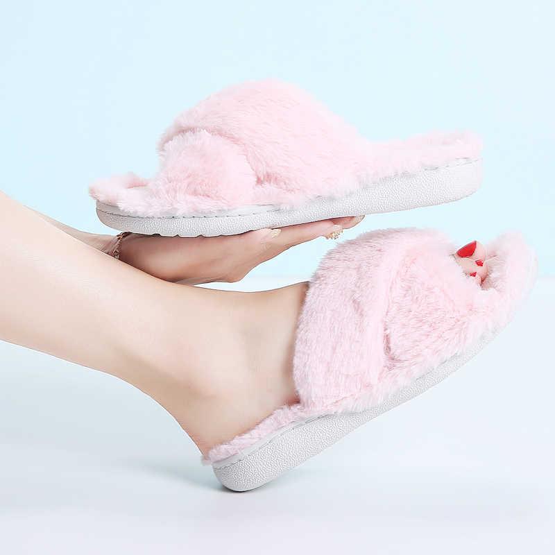 STQ المنزل النعال النساء شبشب منزل الشتاء نِعال من الفراء أحذية دافئة امرأة شبشب منزل السيدات الانزلاق على الشقق الإناث 8011