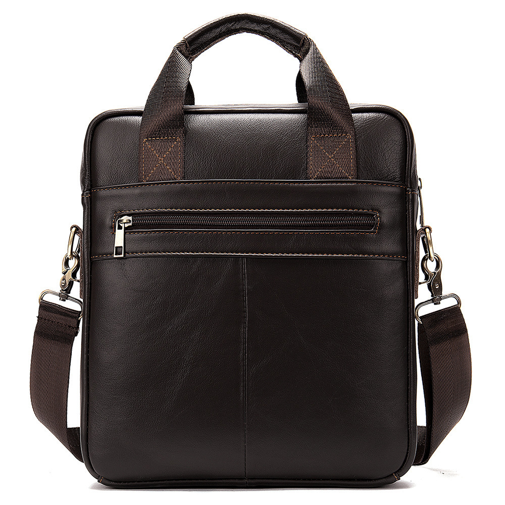 Business Affairs Vertical Section Folder Handbag Single Shoulder Satchel Cowhide Male Package Genuine Leather Messenger Bag Men
