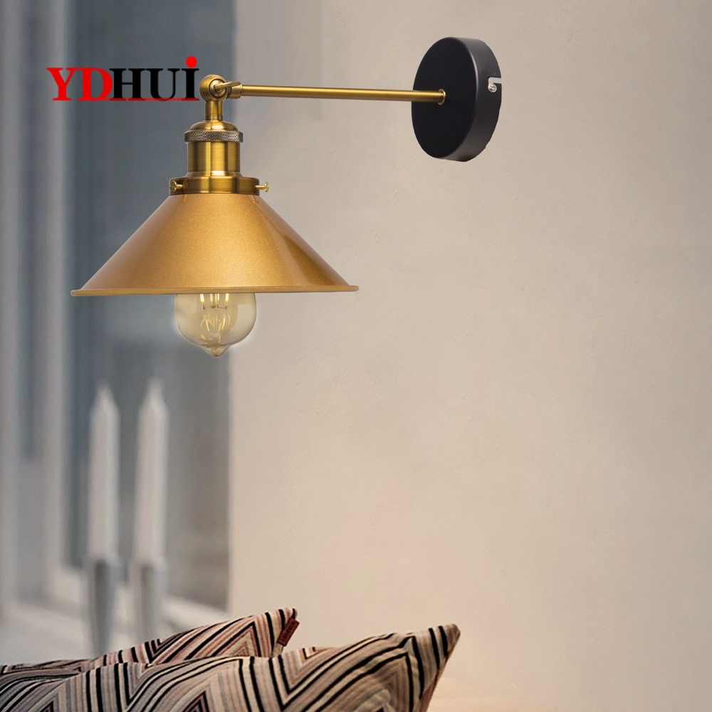 ZhaoKe Black Color Loft Industrial Wall Lamps Vintage Bedside Wall Light Metal  Lampshade E27 Edison Bulbs 110V/220V