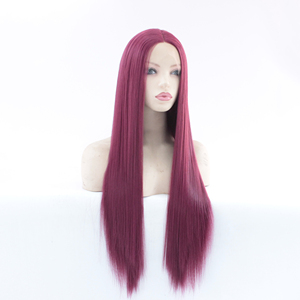 Image 3 - MRWIG Middle Part #2030 dark burgundy Long Straight Heat Resistant Fiber Glueless Wigs For Women Synthetic Lace Front Wig