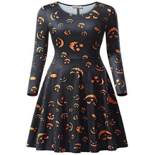 купить Halloween Festival Style Womens Winter Dresses 3D Print Crew Neck Long Sleeve Female Clothing дешево