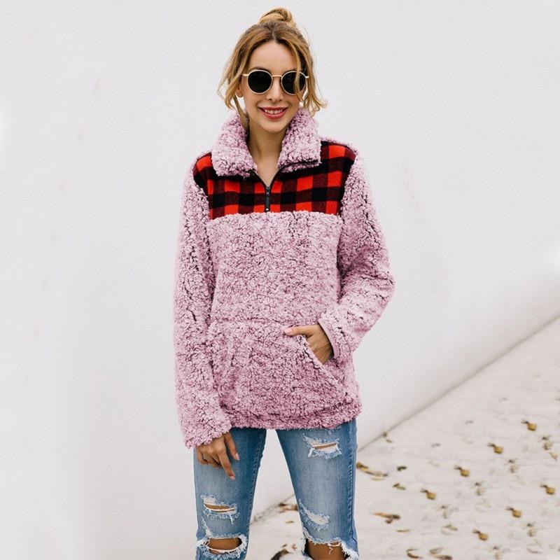 Women Sweatshirt Pullovers Plaid Print Lapel Long Sleeve Pocket Tops Casual Warm Winter Autumn Loose Sweatshirt