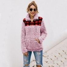 Women Sweatshirt pullovers Plaid Print Lapel Long Sleeve Pocket Tops Casual Warm Winter Autumn Loose Sweatshirt rose embroidered plaid sweatshirt