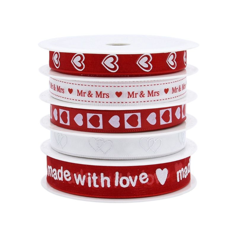 5 Roll Valentines Day Red Love Heart Printed Satin Ribbons For Wedding Handmade DIY Craft Gift Wrapping Supplies Decor