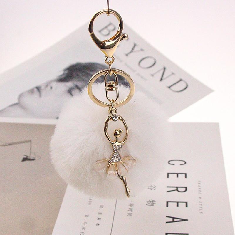 Simple Design Keychain Fake Rabbit Fur Ball Key Chain Ballet Angel Girl Fourrure Pompon Women Bag Jewelry