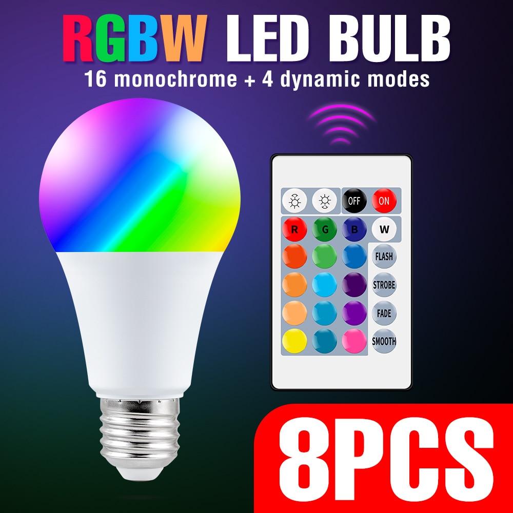 8PCS E27 LED Lampe RGB LED Birne 5W 10W 15W RGBW LED Licht Für Home Dekoration lampara RGBWW Farbwechsel Glühbirne AC 85-265V