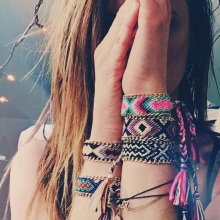Hand Weave Braided Boho Bracelet Summer Beach Bohemian Vintage Cotton Rope String Nepal Yoga Ethnic Rainbow Woven Bracelets