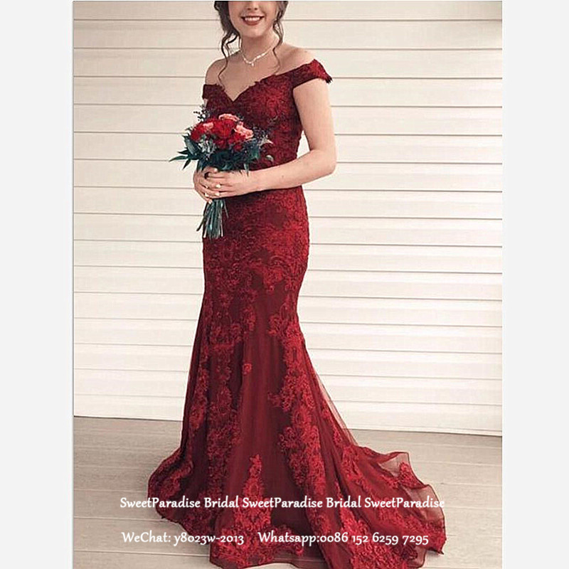 Burgundy Mermaid Lace Mother Of The Bride Dresses Long Off Shoulder Women Formal Evening Dress Prom With Appliques