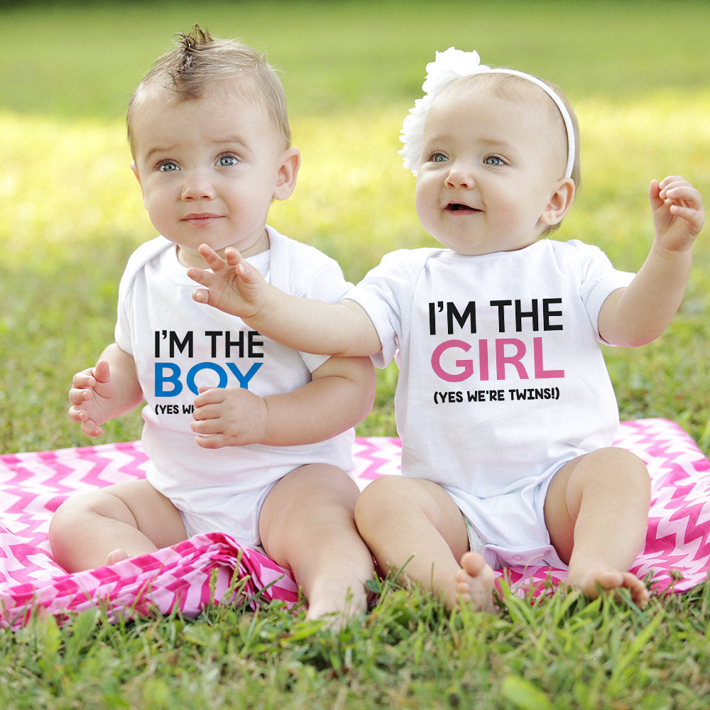 Born Together Friends Foreve Cute Twins Baby Bodysuits Newborn Twins Gift Babe Cute White Onesie Casual Style Clothing Leather Bag