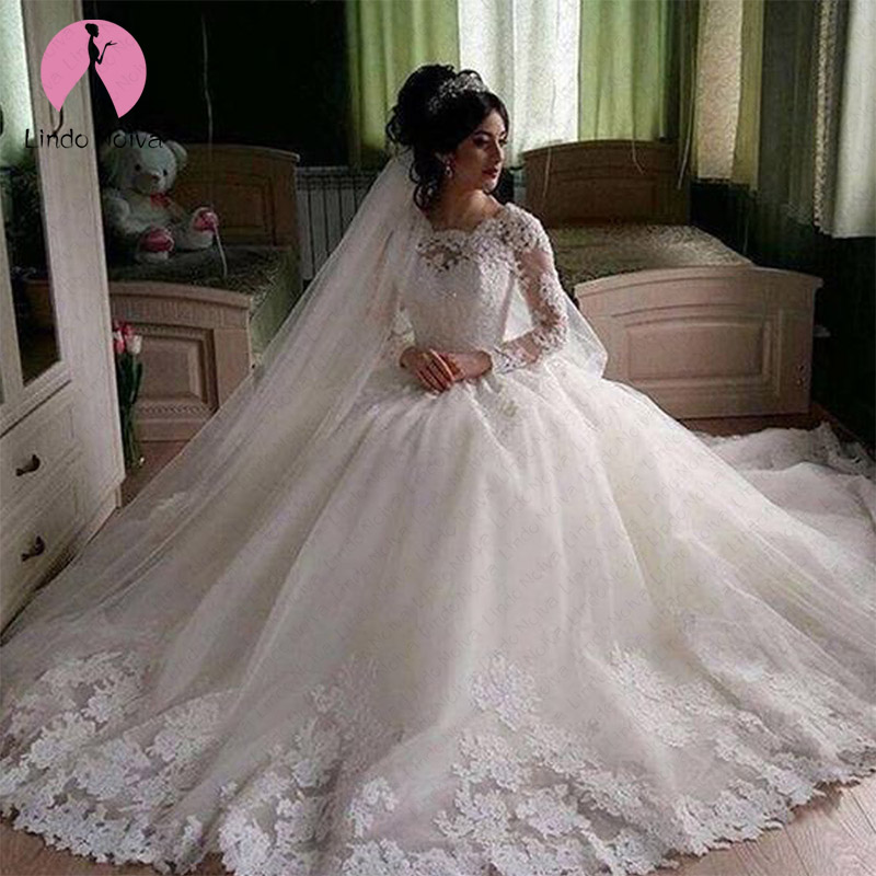 Cheap Vestido De Noiva Elegant Lace Princess Wedding Dresses 2020 Custom Made Long Sleeves O Neck Wedding Gowns Robe De Mariee