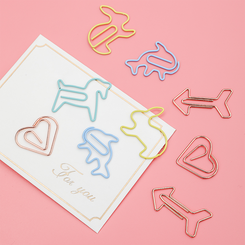 AngelHere Store 12 Pcs/lot Kawaii Paper Metal Hollow Clip Coloful Geometric Clip Lovely Animal Cartoon Clip For School Office