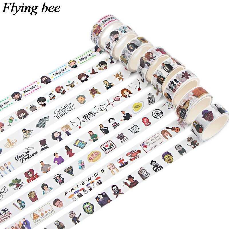 Flyingbee 15mmX5m Washi Tape de papel película creativa cinta adhesiva DIY Scrapbooking etiqueta cinta adhesiva X0775