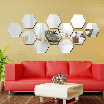 Sześciokątne trójwymiarowe naklejki ścienne z efektem lustra nawa restauracyjna podłogi dostawy spersonalizowana dekoracyjna lustro 12 sztuk tanie i dobre opinie CN (pochodzenie) Other Z tworzywa sztucznego
