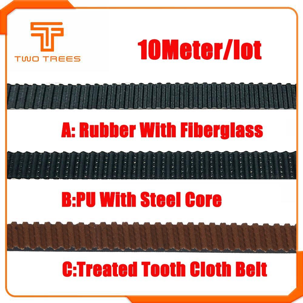10M opened-belt 3d Printer Accessories 10mm Width Timing Belt GT2 2mm Pitch Rubber Fiberglass For 3D Printer