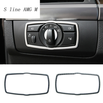 Car Styling Carbon fiber Headlight Switch Buttons decoration Covers Interior Sticker Trim for BMW X5 X6 E70 E71 Auto accessories image