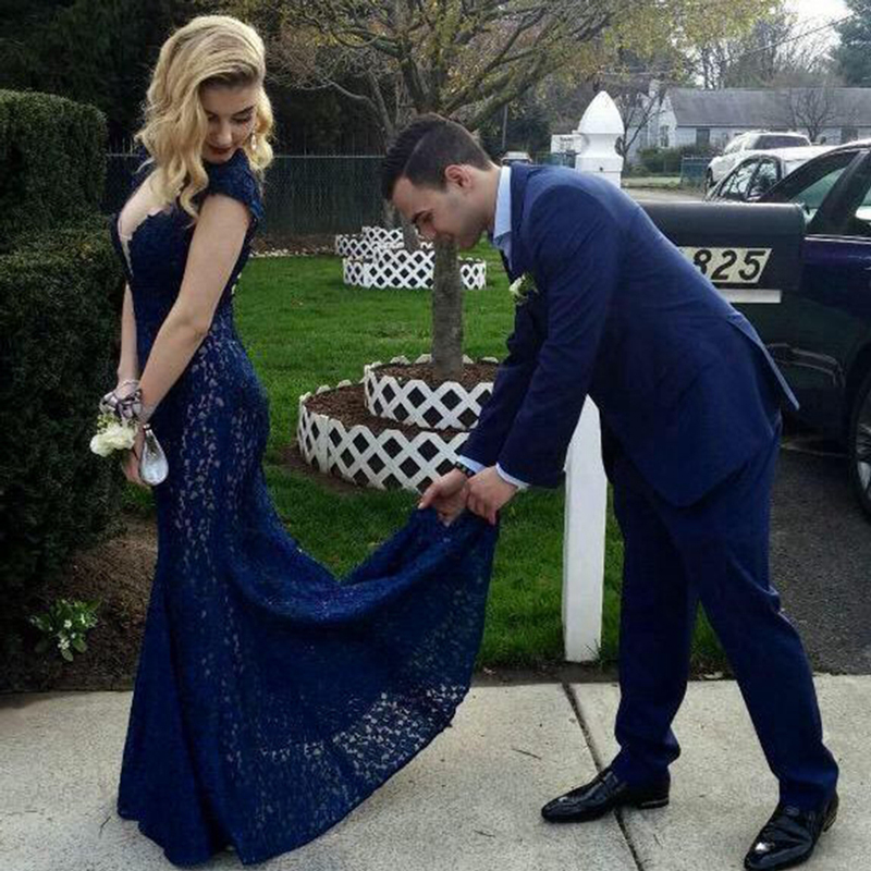 Mermaid Lace Royal Blue 2018 Sexy Backless Engagement Prom Gown With Short Sleeve Vestido De Festa Customized Bridesmaid Dresses