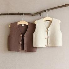2020 Autumn New Baby Girl Vest Single Breast Baby Knitwear V Neck Baby Boys Sleeveless Sweater Toddler Baby Knit Cardigan