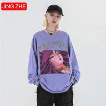 Женские хлопковые футболки jing zhe повседневные в японском