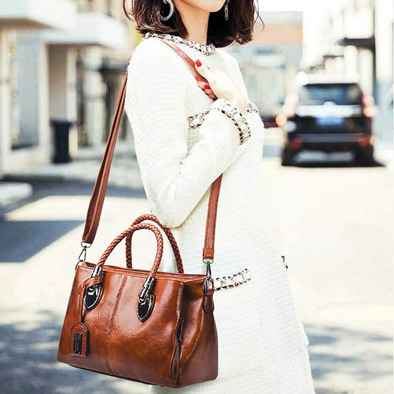 Vintage Oil Wax leather luxury handbags women bags designer ladies hand bags for women 2019 bag sac a main Femme Bolsa Feminina 1