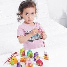 Браслет из бисера с фруктами, деревянная развивающая игрушка для раннего возраста, браслет из бисера, игрушка из бисера, деревянный браслет из бисера, резьба