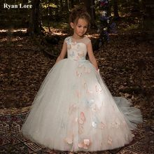 Girl Dresses First Communion Ball-Gown Princess-Dress Sequins Fower Weddings Elegant