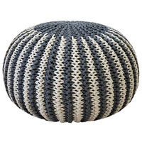 Handmade Cotton Woven Removable Footstool and Ottomans Round Floor Pouf Stool Home Decorative Patio Seating Hand Knitted Style
