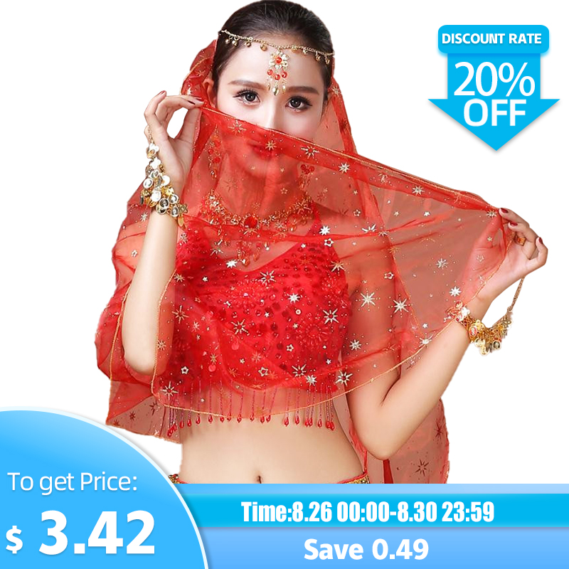 Women Belly Dance Carf Bright Spot Veil Girls Belly Dance Head Carf Dance Accessories