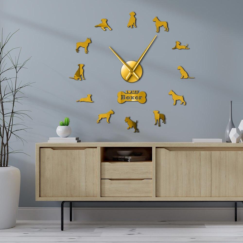 German Boxer Dog Contemporary Oversized Wall Clock DIY Big Needle Time Clock Frameless Deutscher Boxer Large Wall Art Decoration