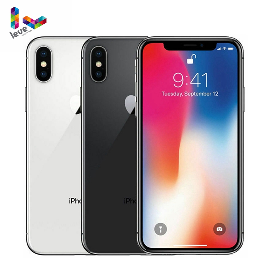 Apple <font><b>iPhone</b></font> <font><b>X</b></font> Face ID 4G LTE Unlocked Mobile Phones 64GB/256GB ROM 3GB RAM Hexa Core 5.8 inch iOS A11 12MP <font><b>Dual</b></font> Back Camera image