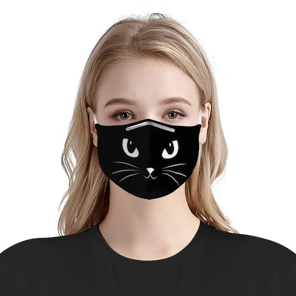 Pattern Custom 4Pcs PM2.5 Filter Masks Black Cat Carbon Insert Women Men Anti-dust Masks Reusable Face Mask Protective Masks