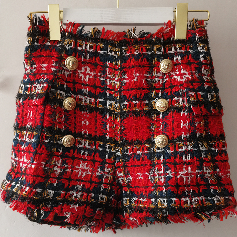 Red Plaid Tweed Shorts Women 2021 Autumn Winter New Hot Shorts with Gold Button Plaid Tweed Fringed Tassel Shorts High Quality