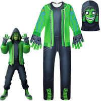 Cráneo soldado trajes monos grandes niños prendas de cosplay Halloween Disfraces para fiesta batalla Raven juego divertido traje