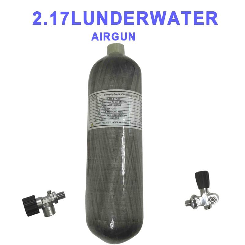 Acecare 2.17L Scuba Oxygen Cylinder Air Tank Pcp Condor Valve Hpa Fiber Diving Mini Tank Co2 Air Rifle Pcp Underwater Airgun