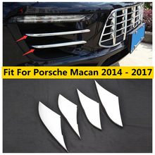 Yimaautotrims Front Fog Lamp Mesh Grill Grille Decoration Cover Kit 4 Pcs Fit For Porsche Macan 2014   2017 ABS Chromium Styling