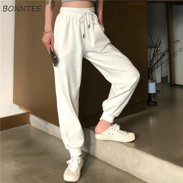 מכנסיים נשים פשוט רופף קרסול אורך מכנסיים קוריאני סגנון שרוך רכה סטודנטים נשים מוצק קיץ לנשימה גבירותיי יומי