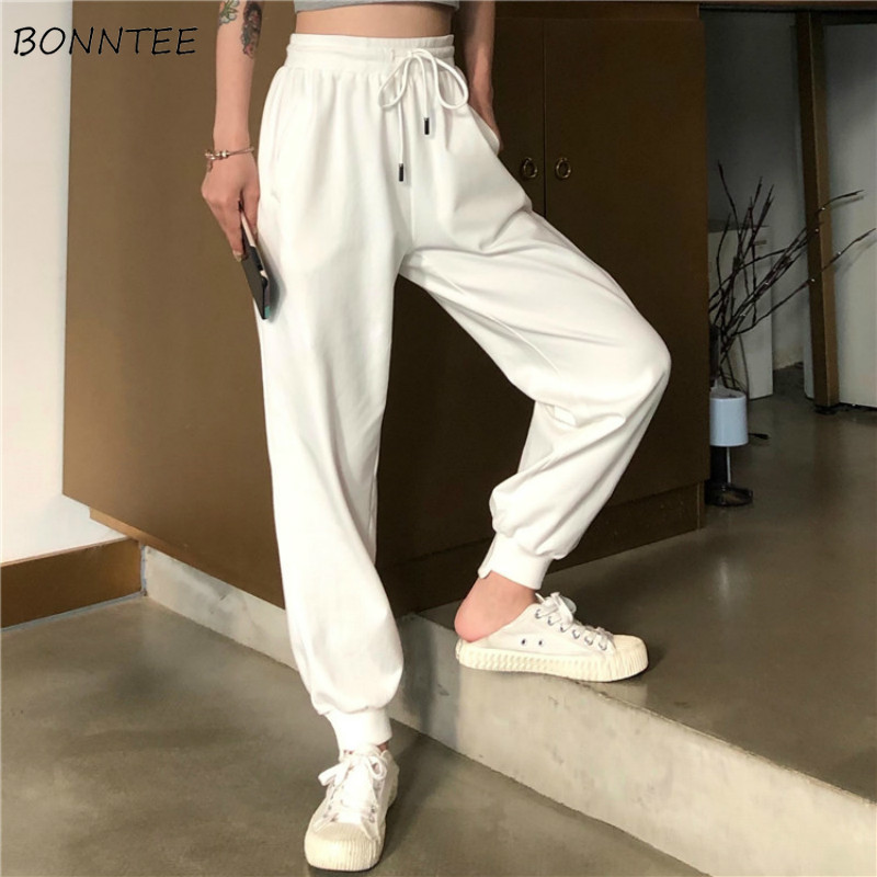 Pants Women Simple Loose Ankle-Length Trousers Korean Style Drawstring Students Soft Womens Solid Summer Breathable Ladies Daily