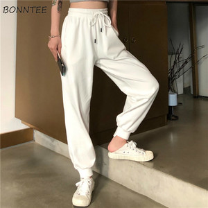 Image 1 - Pants Women Simple Loose Ankle Length Trousers Korean Style Drawstring Students Soft Womens Solid Summer Breathable Ladies Daily