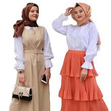 Muzułmańskie kobiety z długim rękawem bluzka biały top na co dzień koszula Turtle Neck luźne ubrania Plus Size elegancka OL bluzka w stylu islamski arabski