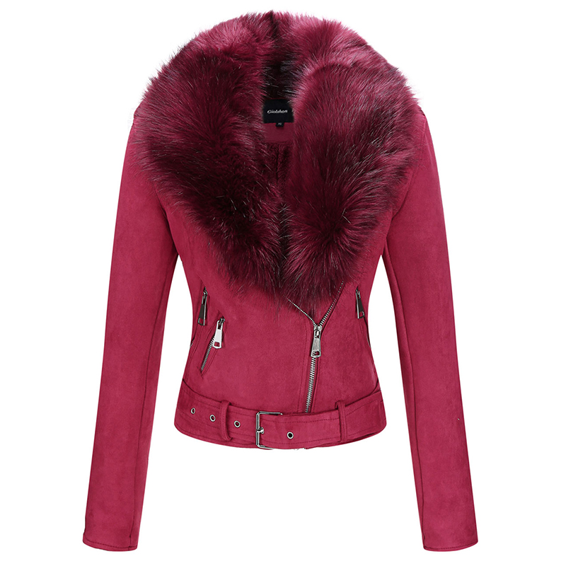 H780467d885164ba0bc617197621536a6B Giolshon 2021 New Winter Women Thick Warm Faux Suede Jacket Coat With Belt Detachable Faux Fur Collar Leather Jackets Outwear
