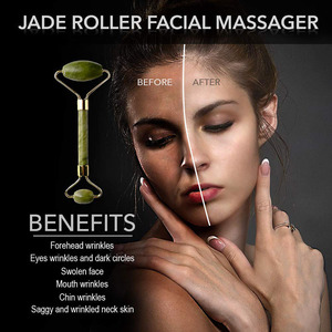 Image 3 - KURADI Double Head Green Facial Massager Roller Natural Jade Stone GuaSha Face Slimming Body Head Neck Natural Massage Tool 2019