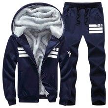 מותג גברים סטי סתיו חורף עבה צמר ספורט חליפת 6XL סווטשירט + מכנסי טרנינג Mens בגדי סטי אימונית גדול גודל 8XL