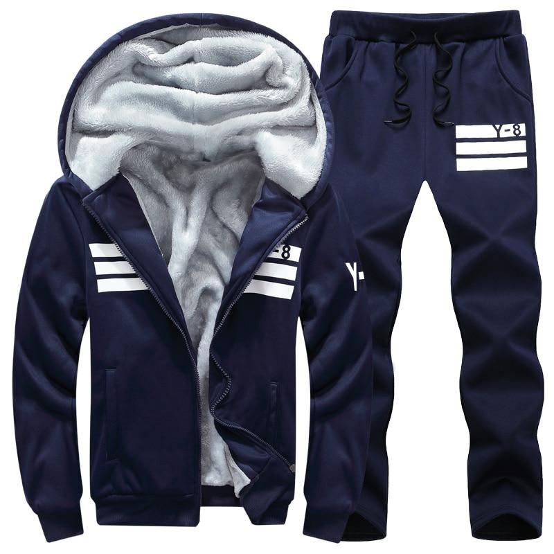 Brand Men Sets Autumn Winter Thick Fleece Sporting Suit 6XL  Sweatshirt   Sweatpants Mens Clothing Sets Tracksuit Large Size  8XLMens Sets