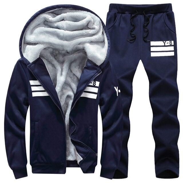 Brand Men Sets Autumn Winter Thick Fleece Sporting Suit 6XL Sweatshirt + Sweatpants Mens Clothing Sets Tracksuit Large Size 8XL
