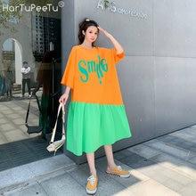 Женское длинное платье футболка с буквенным принтом свободное